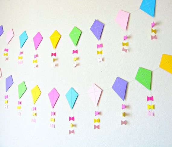 Paper Kite Garland Nursery Decor Baby Shower by Pelemele on Etsy, £12.50