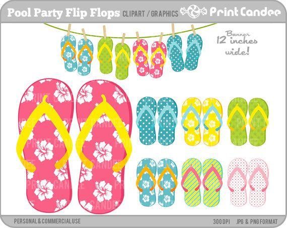 Pool Party Flip Flops  BUY 2 GET 2 FREE  Digital by printcandee, $3.50