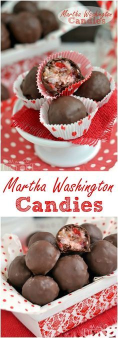 These Martha Washington Candies are an excellent addition to your holiday celebrations, are ideal for gift giving, and look impressive on a cookie tray! Filled with cherry, coconut, and pecans and then covered with chocolate! // Mom On Timeout
