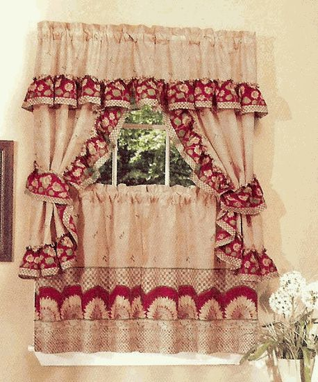 Sunflower Is A Cute Country Theme Complete Set. The Set Includes One Pair  Of Tailored · Kitchen Curtain ...