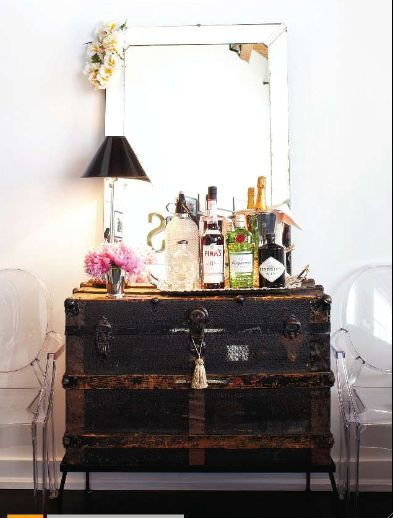 antique trunk used as bar/dresser- great idea bohemian decor rustic