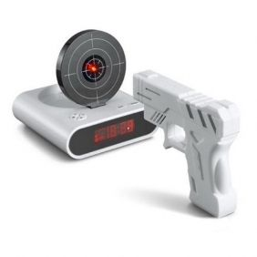 An alarm clock you have to shoot to turn off. alarmclock shoot