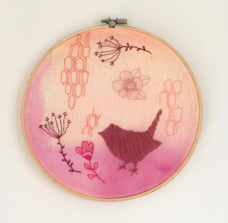 Garden in the Summer - Embroidery and Acrylic on Fabric. 20cm