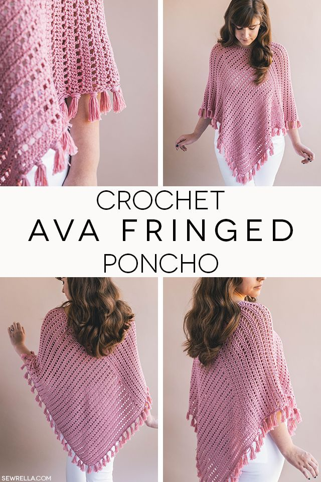 Crochet the ava fringed poncho! Made from just 2 rectangles and tassel fringe, free pattern and video tutorial in sizes XS-4XL!