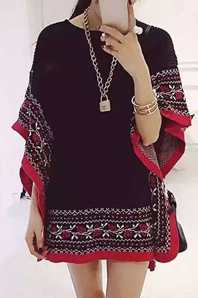Vintage Embroidery Print Round Collar Cape Pullover Sweater
