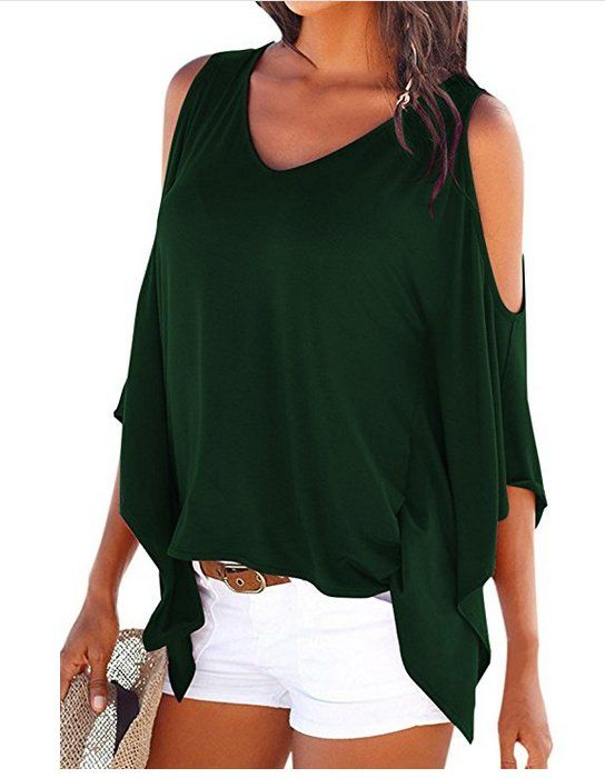 8226e83b0c3 Cutiefox #Womens Sexy #V-Neck Cold #Shoulder Batwing Short Sleeve T #Shirt # Tops - comes in a variety of colors on #Amazon