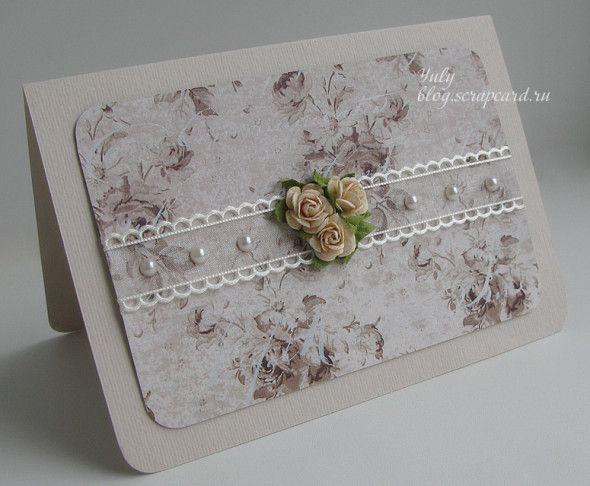 Приглашение на свадьбу - кремовые розы