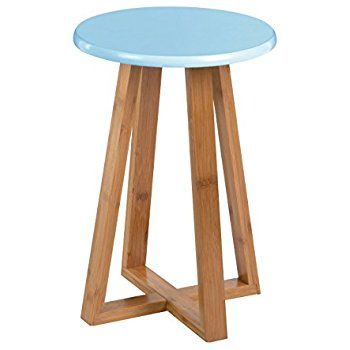 Premier Housewares Viborg Round Stool, Bamboo - Blue: Amazon.co.uk: Kitchen & Home