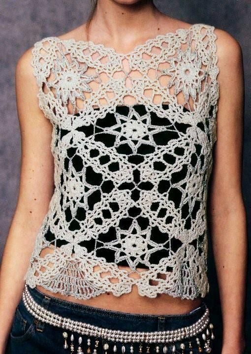 Hermosa polera tejida cortesia de Crochet divino Crochet.