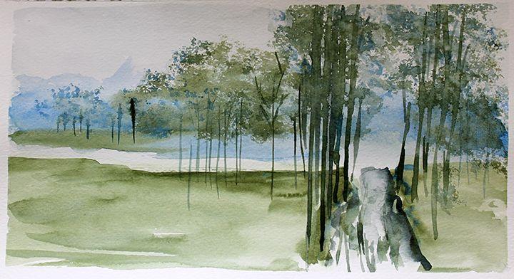 Paysage, aquarelle par Annie Collette