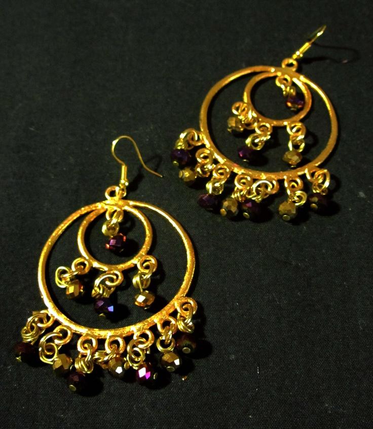 Ethnic purple gold earrings