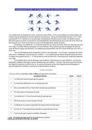 """Fiches FLE: """"Ados et activité physique"""". Exercice de CE (compréhension écrite) + solution (clé)"""