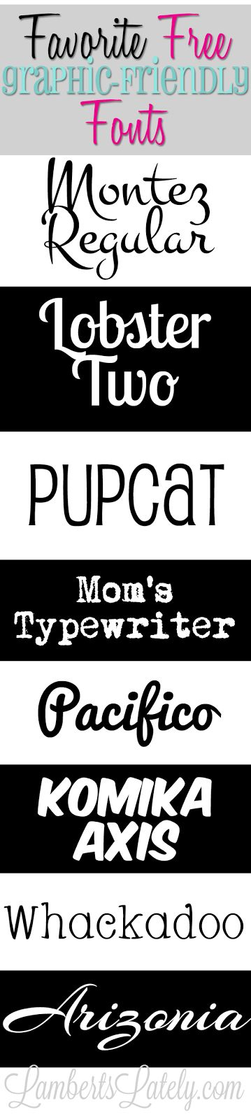 Great collection of free graphic-friendly fonts for bloggers. Perfect to use on Pinterest images!