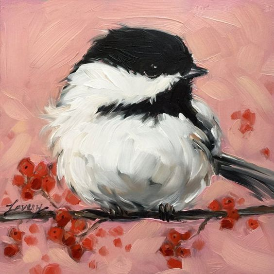 Chickadee painting Original impressionistic oil by LaveryART: