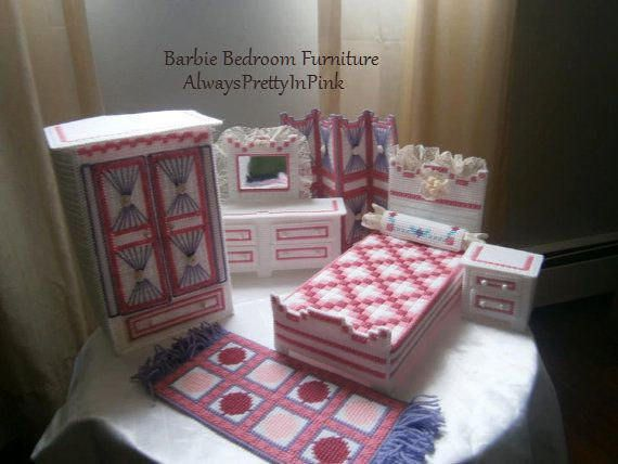 Plastic Canvas Barbie Furniture This is a Bedroom Fashion Barbie Set. This set includes the following: Bed with pillow, Armour with doors that open and close, small dresser with doors that open and close, large dresser with mirror and dressers that open and close, mat with fringe, and changing blinds.