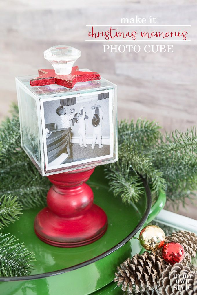 How to make a photo cube on a pedestal to display family photos at Christmas or anytime of the year.