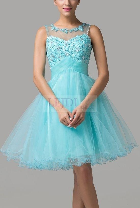 Tiulowa sukienka z kryształkami, turkusowa
