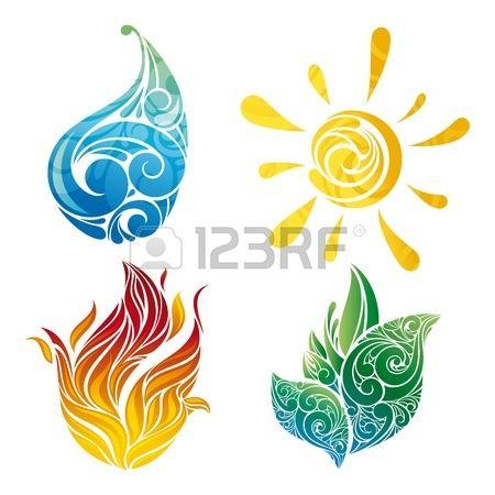 symboles soleil, feuille, eau et le feu dans l'illustration Banque d'images - 13031059