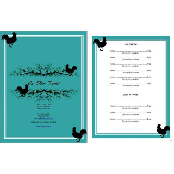 free menu templates | Restaurant Menu OpenOffice Templates: Free Templates for Your ...