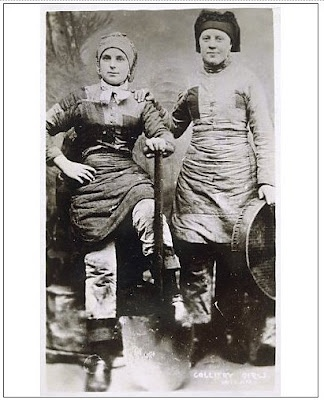 Women in coal mining; Wigan colliery girls from Mary Evans. Wigan is a town in Greater Manchester, UK
