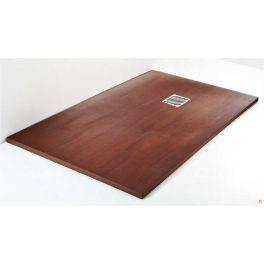 Plato de ducha de resina antideslizante textura madera