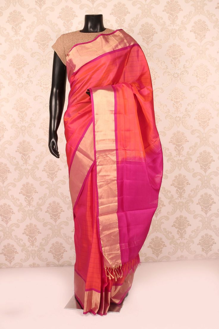 Rani #pink multicoloured pure silk #appealing saree with antique #gold border SR11277