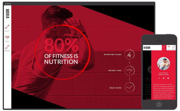 Vigor | Personal Trainer Adobe Muse Website Template