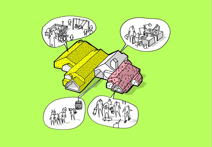 """Fremtidens Børnehjem, CEBRA. CEBRA typically uses these axonometric cartoons to describe broadly how program uses are arranged. This diagram additionally posits how each space is actually used - such as an office space and playground. Note the use of the """"speech bubble""""denoting the use of a particular building piece."""