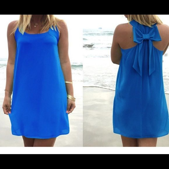 Royal Blue Bow Back Dress Royal blue bow back dress, fully lined chiffon material. This is the only one in stock, so YES YOU MAY PURCHASE THIS LISTING. This listing is for a size Small. Price is firm, no trades please. Boutique Dresses