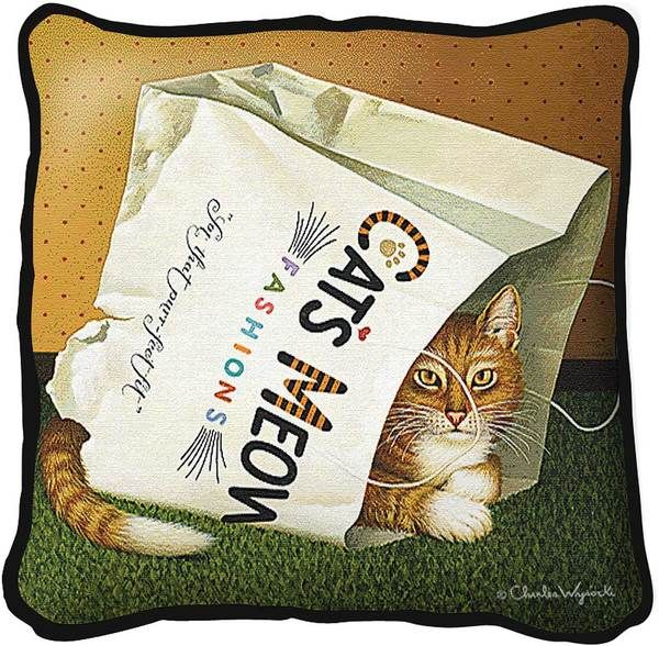 Charles Wysocki | Cat's in Bag | Decorative Throw Pillow - Cat Gifts for People
