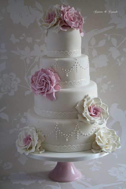 So elegant, the roses are beautiful: Vintage Pearls, Vintage Wedding Cakes, Elegant Cakes, Cotton And Crumb, Google Search, Rose Wedding Cakes, Flowers Cakes, Pink Rose, Baroque Pearls