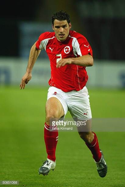 Bernt Haas of Switzerland running during the Friendly International match between Switzerland and Slovenia at The Stade de Geneve on April 28 2004 in...