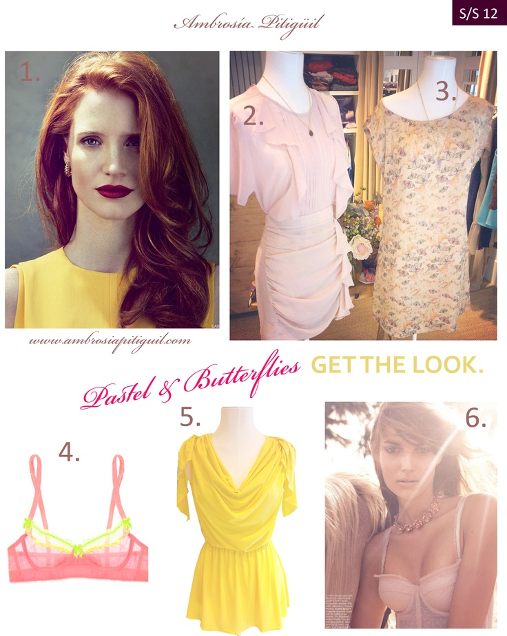 PASTEL & BUTTERFLIES. Get the look in Ambrosía Pitigüil.  1.-  Jessica Chastain with yellow top.  2.- Blouse & Skirt by  Ambrosía Pitigüil.   3.- Gold butterflies dress by Ambrosía Pitigüil.   4.- Fosfo bra!   5.-  Yellow blouse by Ambrosía Pitigüil.  6.- natural and  fresh look for this spring all in  http://ambrosiapitiguil.bigcartel.com/: Pastel, Pitigüil Branding, Get The Look, Fosfo Bra, Yellow Blouse