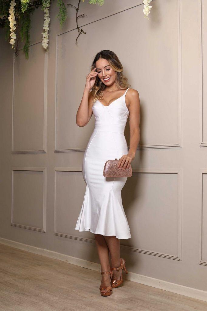 4e4c1e1f0c25 Vestido midi branco alças elastano - Imagem 2 | vestidos fofos ...