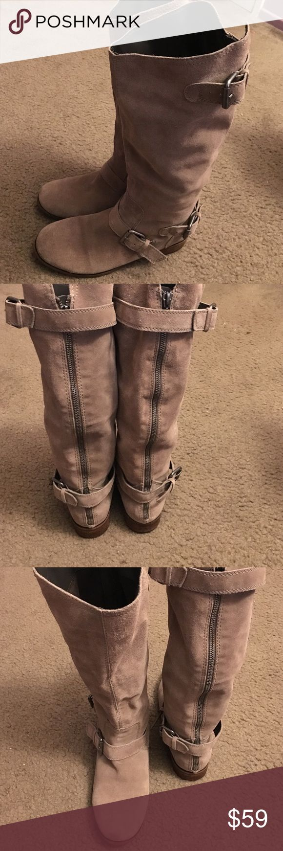 Dolce Vita Suede Beige Boots Beautiful Dolce Vita suede boots! Very comfortable and love the buckles. Perfect with jeans,leggings, skirt or a cute dress!!! Some wear on good shape! Dolce Vita Shoes Winter & Rain Boots