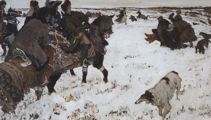 Valentin Serov (Russian 1865–1911) [Impressionism, Realism, Peredvizhniki, Portraits] Peter I on the hunt, 1902.