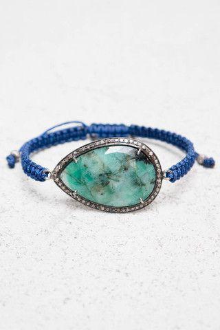 Jemma Sands Emerald Navy Cord Bracelet $425