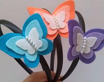 Fascia di farfalla - lilla viola feltro farfalla / misto lana feltro accessori per capelli carino per ragazze Elenco è per 1 fascia. Il set include: