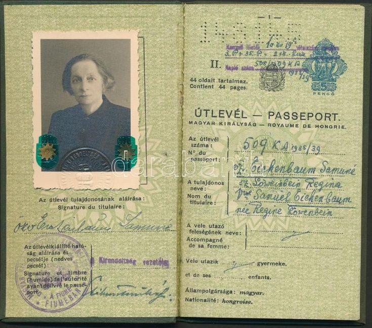 1938 A fiumei magyar konzuli kirendeltség által kiállított fényképes útlevél | Darabanth Kft.