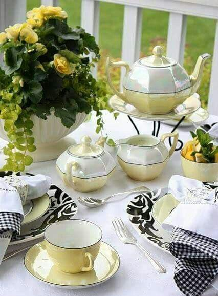 Tea time, beautiful table setting for spring time.