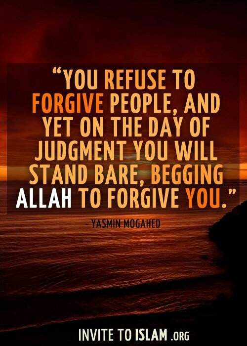 Let go of the past grudges and pain. Forgive them all, not because your wrong, but because Allah SWT is most just (Al Adl-The Just) and you should trust that Allah takes care of all affairs perfectly. (Al Alim-The knower of all) So just forgive them, so Allah SWT can forgive you, Insha'Allah. #Yasmin #Mogahed