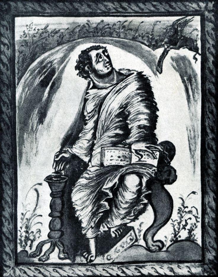 174.  Евангелист Марк.  Миниатюра Евангелия архиепископа Эбо. 816 - 835 гг. Эпернэ, Городская библиотека.