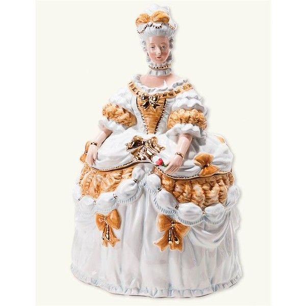 'LET THEM EAT COOKIES' MARIE ANTOINETTE COOKIE JAR ($100) ❤ liked on Polyvore featuring home, kitchen & dining, food storage containers, biscotti cookie jar, cookie tins, cooky jar, cookie boxes and cookie jar