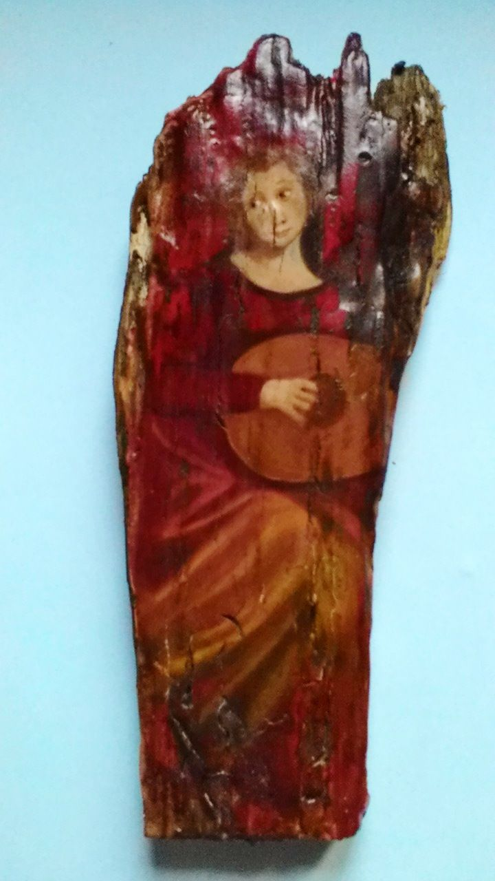Frammento di antico legno con dipinto originale.Misura 18cmx8cm.Suggestivo frammento di finissima pittura antica.Verrà spedito con un accurato imballaggio con servizio di posta assicura.