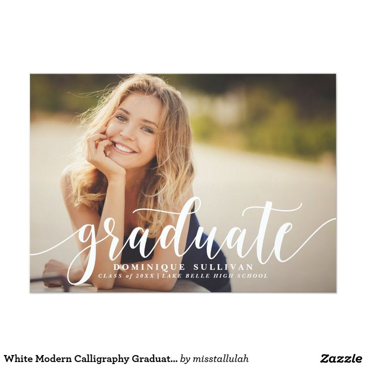 'White Modern Calligraphy Graduation Announcement' Modern graduation photo announcement featuring white modern calligraphy and stripes pattern. This style is available in variety of colors.