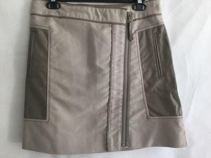 Adolfo Dominguez Mini Wrap Skirt SZ 4 Khaki