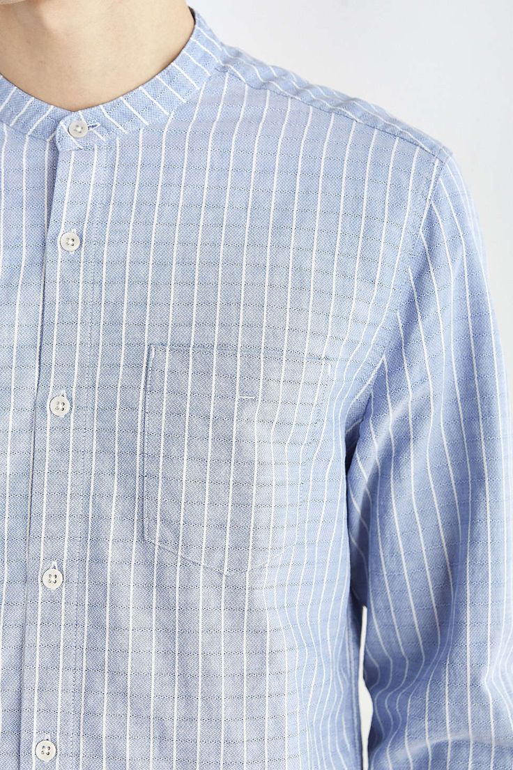 Your Neighbors Textured Stripe Mandarin Collar Shirt