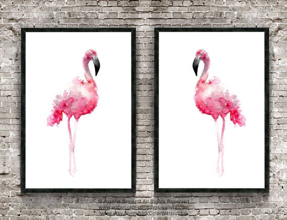 Two Flamingos Pink Art Print Set of 2 by ColorWatercolor on Etsy