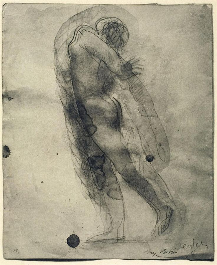 "delicieuxchaos: "" Auguste Rodin -Enfers,Ink, Water color, 1900s """