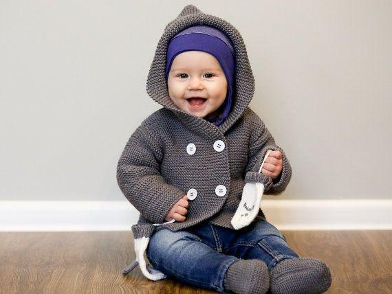 PARA ordenar / suéter hecho punto del bebé con capucha y
